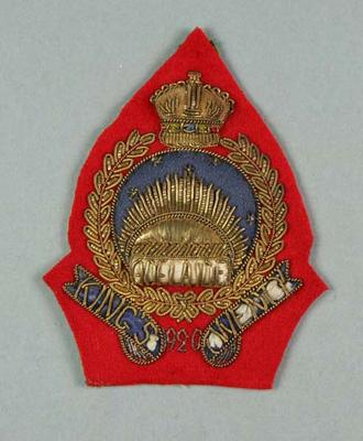 Bullion badge awarded to W Williams, Adelaide King's Twenty 1920