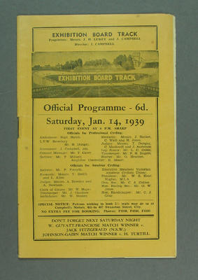 Programme - Exhibition Board Track, Saturday 14 January 1939