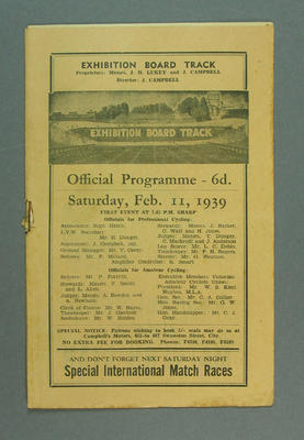 Programme - Exhibition Board Track, Saturday 11 February 1939