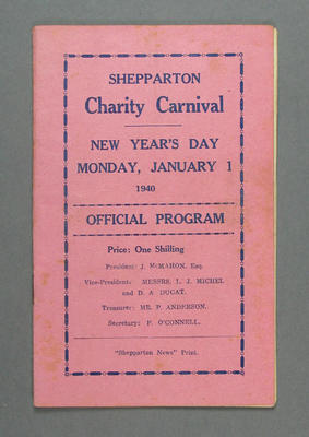 Programme - Shepparton Charity Carnival, New Year's Day 1 January 1940