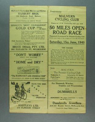 Pamphlet - Malvern CC, 50 Mile Open Road Race, Saturday 15 June 1940