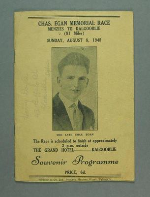 Programme - Chas Egan Memorial Race Menzies-Kalgoorlie 8 August 1948