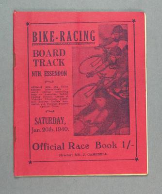 Programme - Bike Racing Board Track North Essendon, 20 January 1940