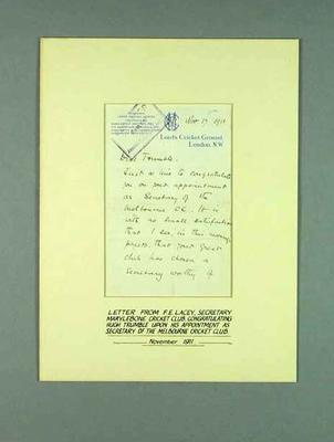 Letter from Francis Lacey to Hugh Trumble, 17 Nov 1911