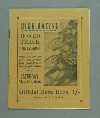Programme - Bike Racing Board Track North Essendon 2 March 1940