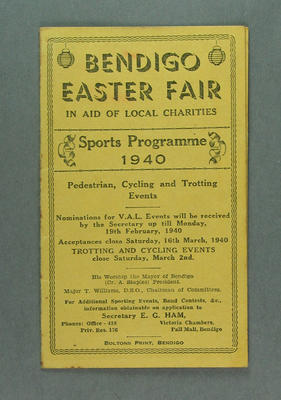 Programme - Bendigo Easter Fair Sports Programme 25-27 March 1940