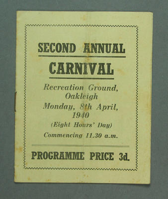 Programme - Second Annual Carnival. Recreation Ground Oakleigh, 8 April 1940