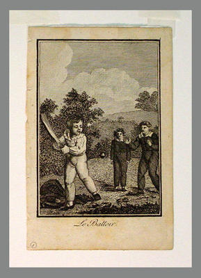 Engraving of 3 young boys playing cricket, titled 'Le Battoir' c.1750-80