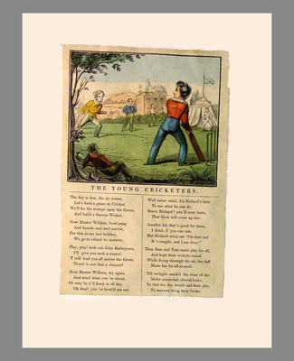 Hand-coloured engraving titled  'The Young Cricketers' with poem beneath, c.1860