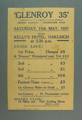 Programme - 'Glenroy 35', Saturday 15 May, patronage  League of  Victorian Wheelman