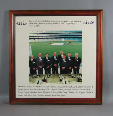 Photograph of members of the leading tennis nations at the Melbourne Cricket Club, 1992 Australian Open Championships