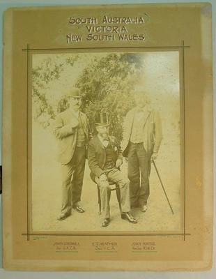 Sepia photograph of State Secretaries of South Australia, Victoria, New South Wales  Cricket Associations c.1892; Photography; M3184
