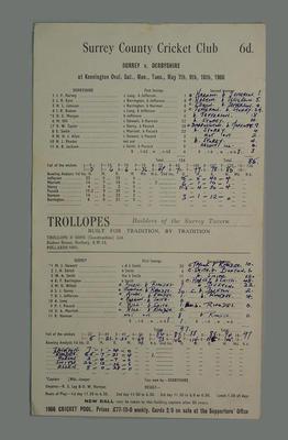 Scorecard, Surrey v Derbyshire cricket match - May 1966