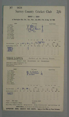 Scorecard, Surrey v Essex cricket match - August 1966