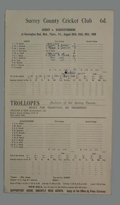 Scorecard, Surrey v Gloucestershire cricket match - August 1966