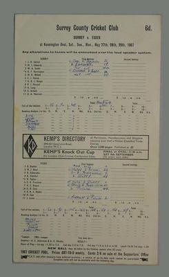 Scorecard, Surrey v Essex cricket match - May 1967