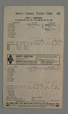 Scorecard, Surrey v Warwickshire cricket match - May 1967