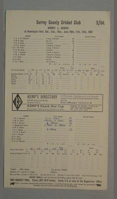Scorecard, Surrey v Sussex cricket match - June 1967