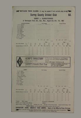 Scorecard, Surrey v Gloucestershire cricket match - August 1967