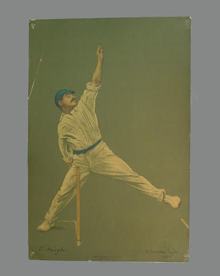 Print of cricketer S. Haig from a lithograph by A. Chevallier Tayler 1905