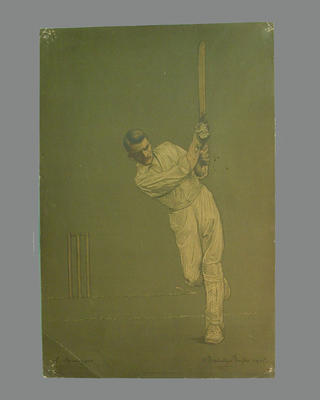 Print of cricketer J. Iremonger from a lithograph by A. Chevallier Tayler 1905