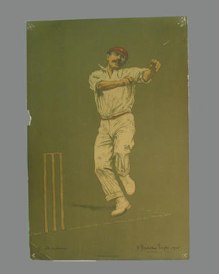 Print of cricketer G.J. Thompson  from a lithograph by A. Chevallier Tayler 1905