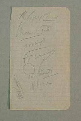 Sheet of paper containing autographs by 1932-33 English Cricket Team Members