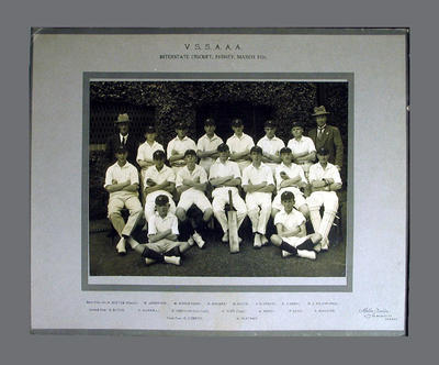 Team photograph of VSSAAA Interstate Cricket team, March 1926