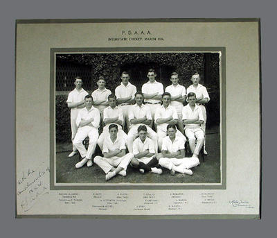 Team photograph of PSAAA Interstate Cricket team, March 1926