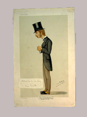 Lithographic print - Lord George Hamilton drawn by 'SPY' with attached autograph, Vanity Fair 5 April 1879