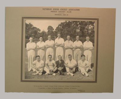 Photograph of Presco Cricket Club, Victorian Junior Cricket Association Premiers 1939-40; Photography; M8056
