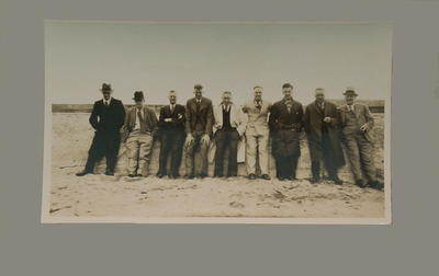 Group portrait of nine men, possibly cricketers, c1938; Photography; M8059