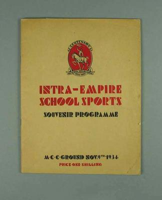 Programme for Intra-empire School Sports, MCG - 9 Nov 1934