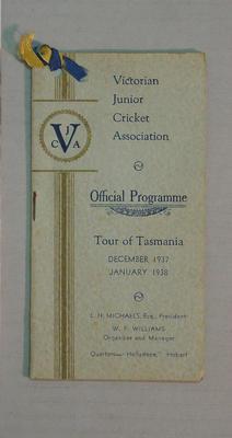 Programme for VJCA tour of Tasmania, 1937-38; Documents and books; M8065
