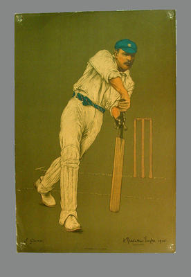 Reproduction lithograph print of cricketer J. Gunn by A. Chevallier Tayler; Artwork; M3747