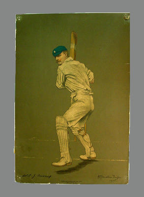 Reproduction lithograph print of cricketer C.J. Burnup by A. Chevallier Tayler