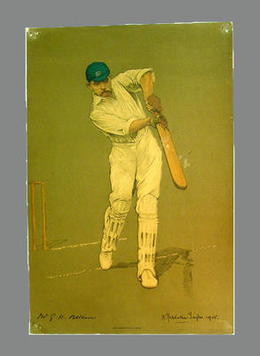 Reproduction lithograph print of cricketer G.W. Beldam by A. Chevallier Tayler
