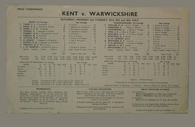 Scorecard, Kent v Warwickshire cricket match - July 1949; Documents and books; M4631
