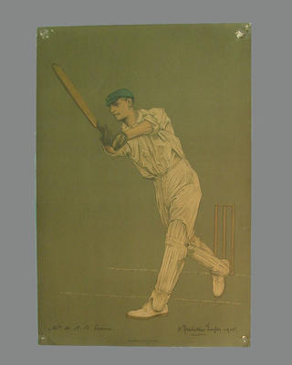 Print of cricketer W.H.B. Evans  from a lithograph by A. Chevallier Tayler 1905