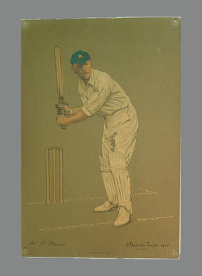 Reproduction lithograph print of cricketer P. Perrin by A. Chevallier Tayler