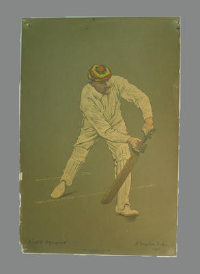 Reproduction lithograph print of cricketer Capt'n [ E.G.] Wynyard  by A. Chevallier Tayler