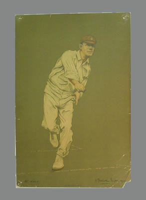 Reproduction lithograph print of cricketer W. Lees  by A. Chevallier Tayler