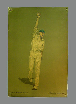 Reproduction lithograph print of cricketer H.V. Hesketh-Pritchard by A. Chevallier Tayler