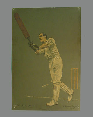 Print of cricketer R.H. Spooner from a lithograph by A. Chevallier Tayler 1905