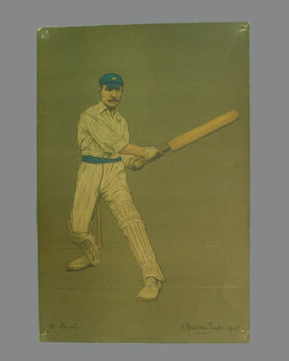 Print of cricketer David Denton from a lithograph by A. Chevallier Tayler 1905