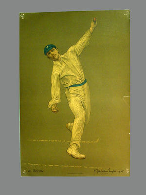 Print of cricketer Wilfred Rhodes from a lithograph by A. Chevallier Tayler 1905