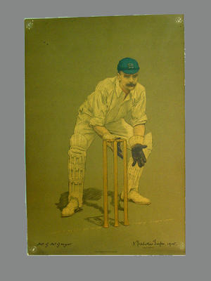 Print of cricketer Gregor McGregor from a lithograph by A. Chevallier Tayler 1905