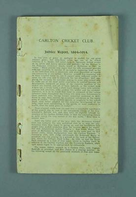 Book, Carlton Cricket Club Jubilee Report 1864-1914