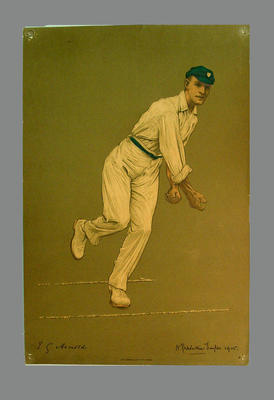 Print of cricketer Edward George Arnold from a lithograph by A. Chevallier Tayler 1905