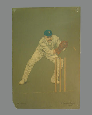 Print of cricketer Arthur Lilley from a lithograph by A. Chevallier Tayler 1905